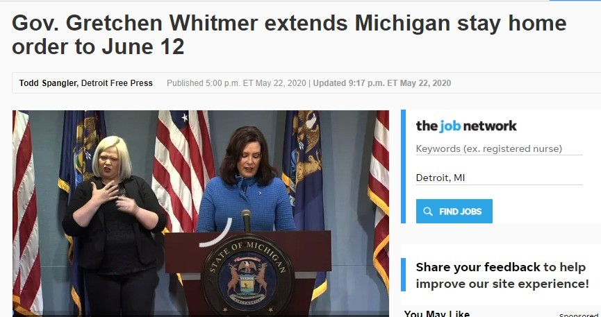Michigan stay at home extended to june 12th. .. THIS IS NOT DICTATORIAL AT ALL!