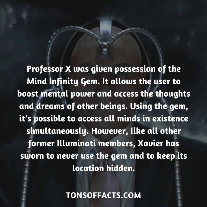 Mind Infinity Gem. Source: . Professor X was given possession of the Mind Infinity Gem. It allows the user to boost mental. power and access the thoughts and dr