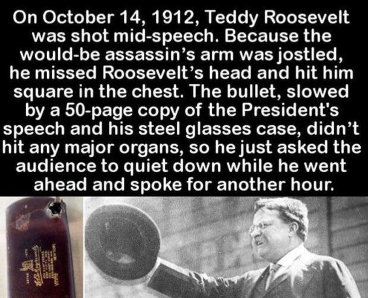 Missed!. .. Fun fact: John Flammang Schrank shot Roosevelt with a .38-caliber Colt Police Positive Special revolver, the same revolver that years earlier had been used by J