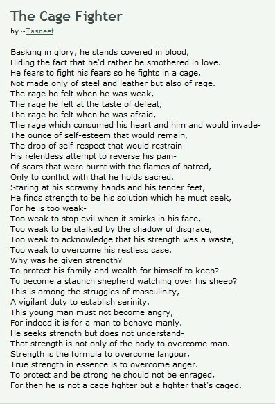 MMA fighters, brutes or poets?. Poem written by aspiring poet and talented young MMA fighter, Tasneef Mahammad. Below is his deviantART page. http://tasneef.dev