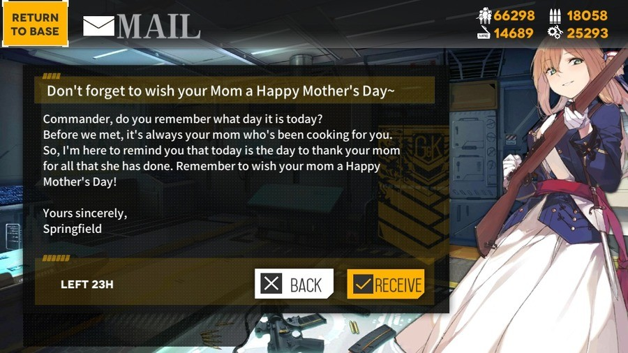 Mommy Springfield - Mothers day. join list: GirlsFrontline (458 subs)Mention Clicks: 59375Msgs Sent: 190652Mention History.. love you mom not you Springfield