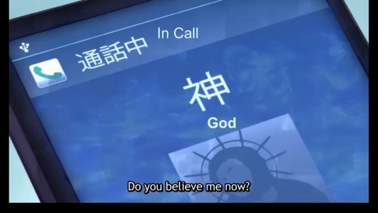 moshi moshi god desu. source is Noucome, ep.2.