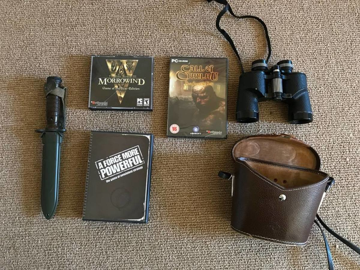 New Haul. Most recent haul. A GOTY copy of Morrowind, a game I am slowly learning to enjoy. A still plastic wrapped copy of Call of Cthulhu: Dark Corners of the