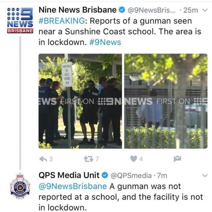 News Owned. . t' aiit' El Nine News Brisbane @.... . as ill NEWS #BREAKING: Reports of a gunman seen near a Sunshine Coast school. The area is in lowdown. #ehle