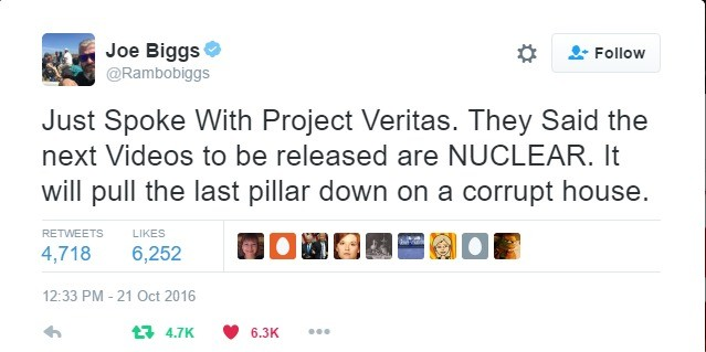 """Next Project Veritas """"Nuclear"""". Hope it's good.. we Biggst ) .3: Follow Just Spoke With Project Veritas, They Said the next Videos to be released are NUCLEAR. I"""
