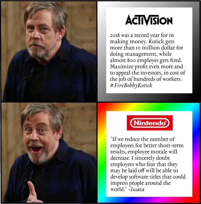 "Nintendo > Activision. join list: VideoGameHumor (1689 subs)Mention History.. Activision is a company, but keep in mind who was fired. Y'all on the marketing department for ""Do you guys not have phones?"" but the second marketing"