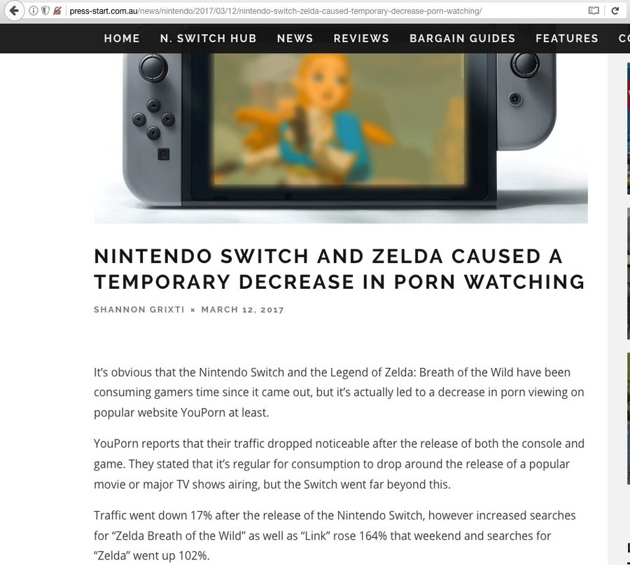 """Nintendo Wins Again. . HUME N. 5"""" """". r' WTCH HUB NEWS REVIEWS BARGAIN GUIDES FEATURES TEMPORARY DECREASE IN PORN WATCHING SHANNON an MARCH 12. 2131? its obvious"""