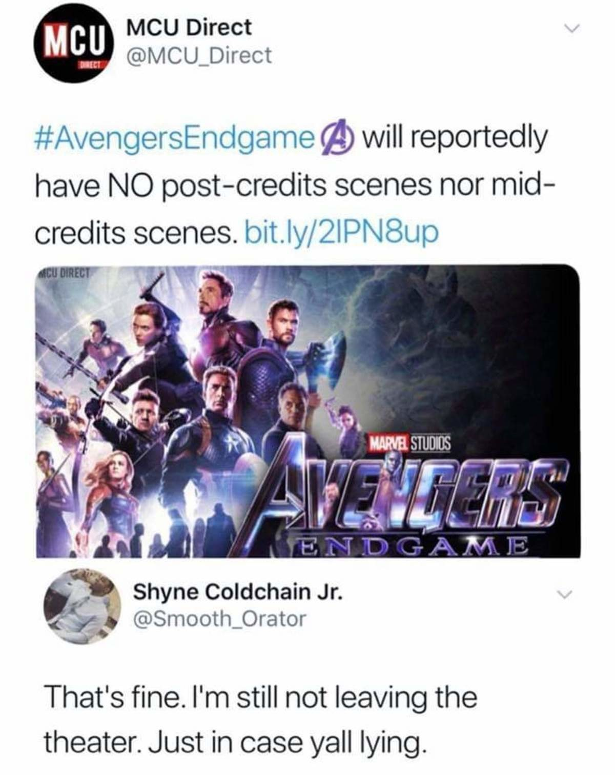 No end credit scene?. .. It doesn't.