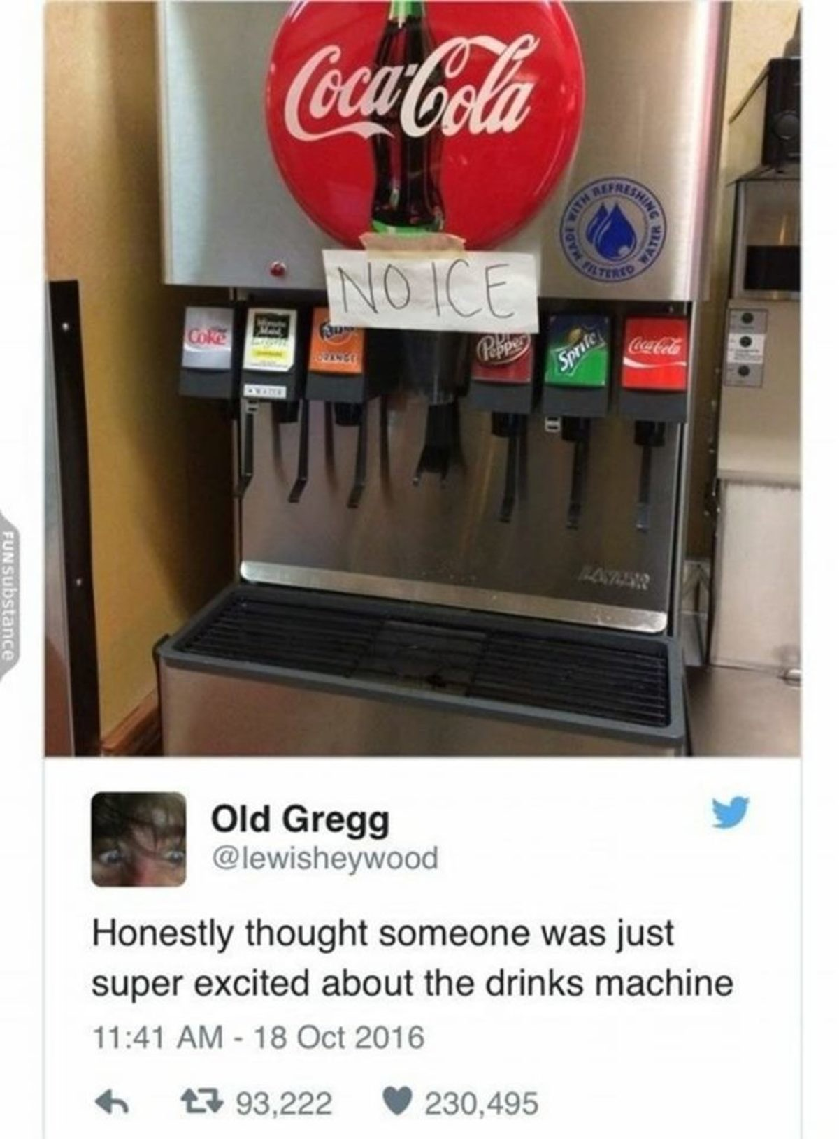 Noice.. .. I don't think soda fountains should express their personal political opinions