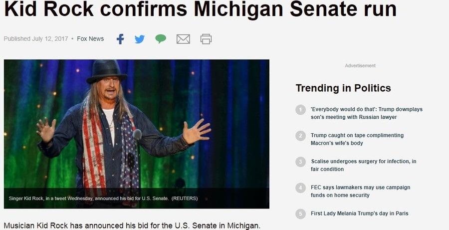 Not the Rock I was expecting but ok. . Kid Rock confirms Michigan Senate run Trending in Politics Everybody would do that': Trump downplays son' s meeting with