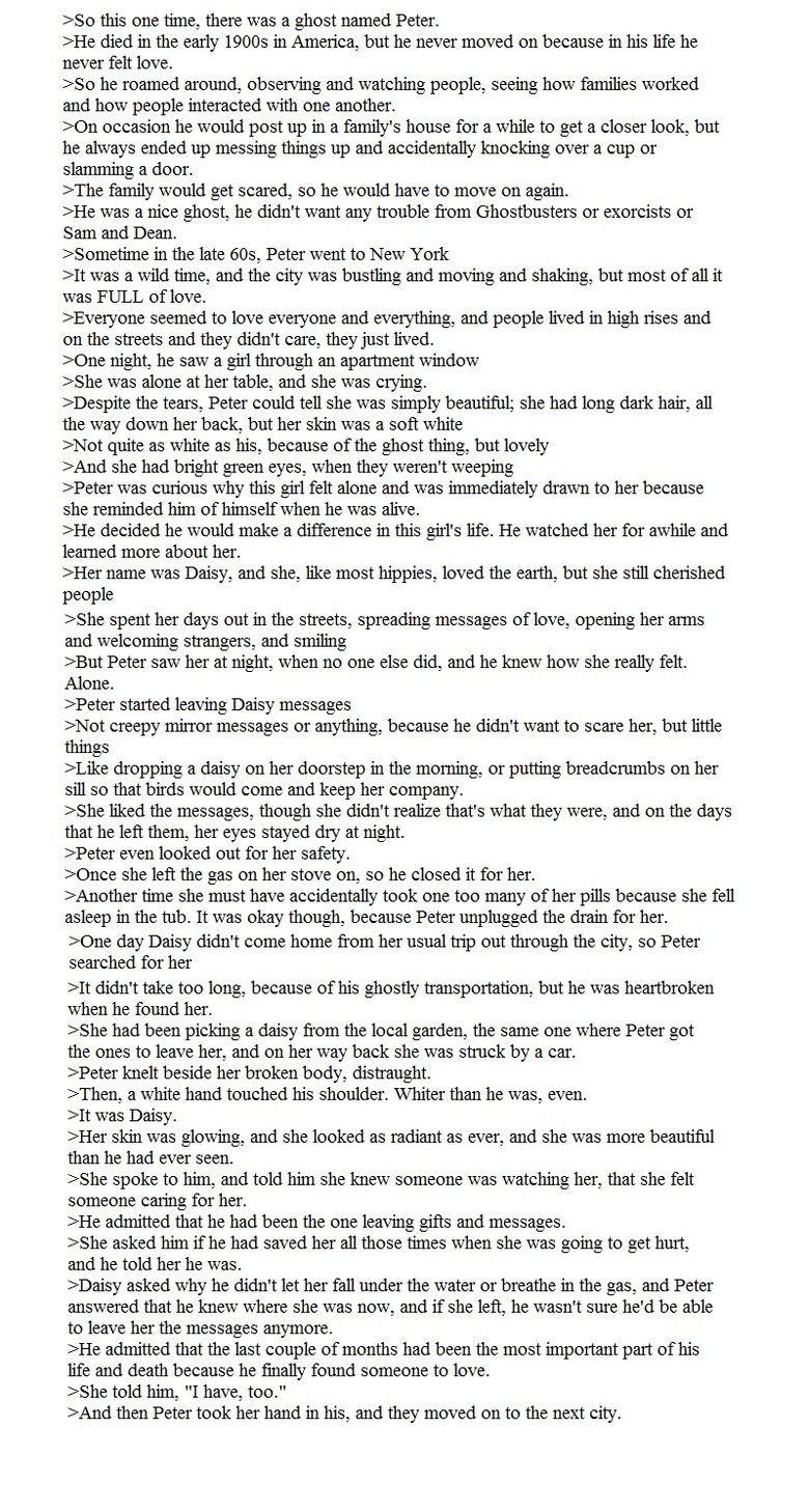 OC Ghost Story. I posted this story yesterday as a text, but it was in two parts and I think people were confused by it. Second try. Hope you enjoy.. reso this