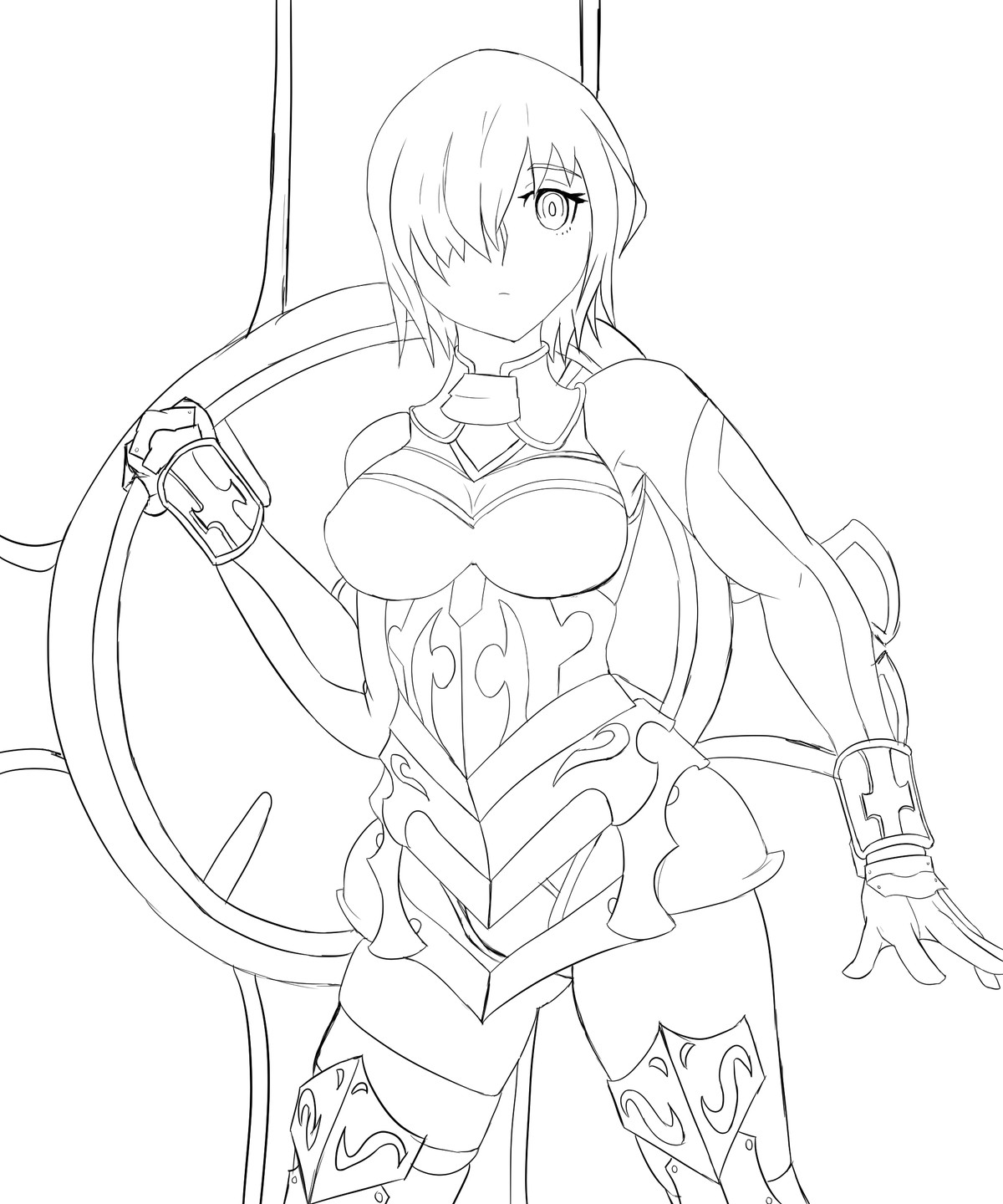 Mash Linework. coloring comes tomorrow Also fixed what seemed to be the problem with her boobs, it was the lines that go across the breats that were unsymm