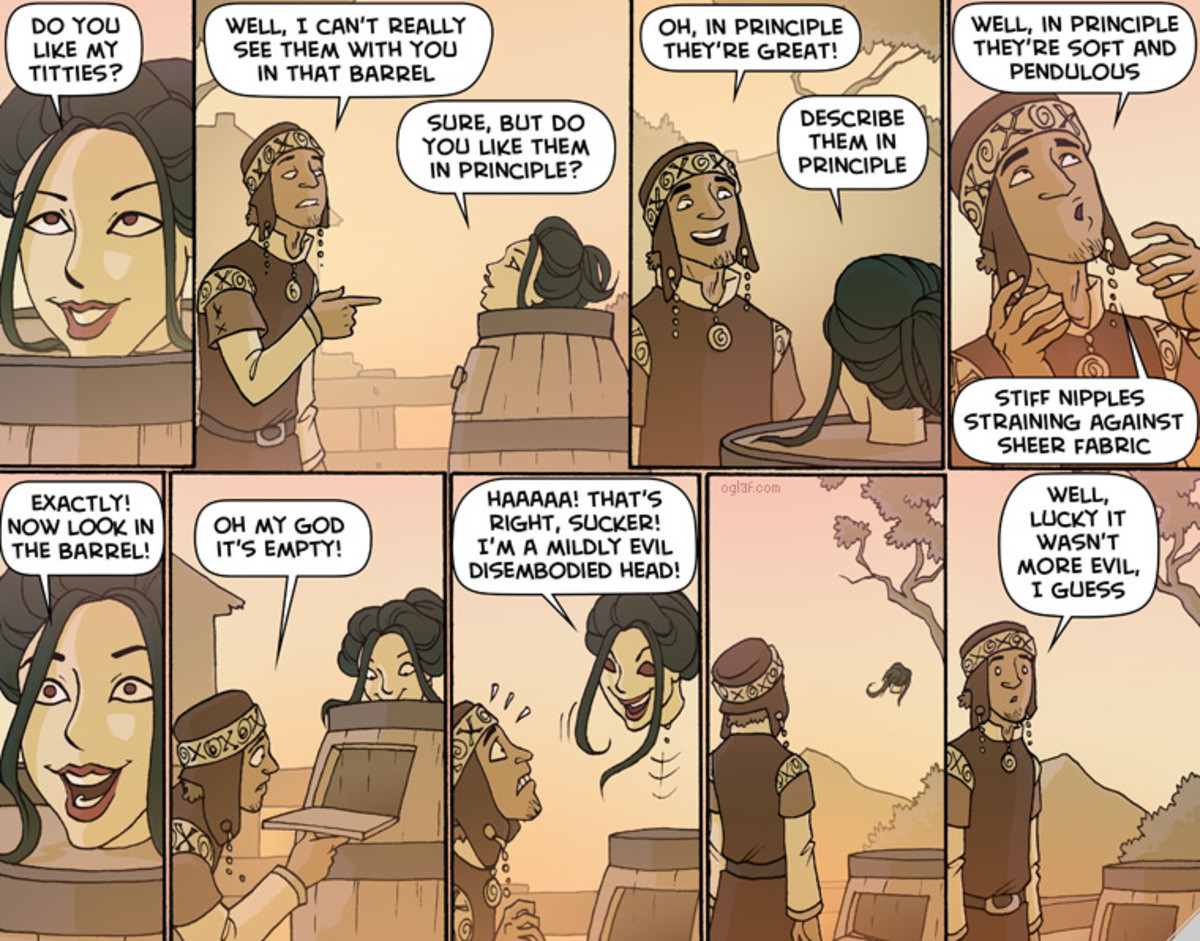 Oglaf. .. He now needs a butterfly net, a small box with a hole and aome rope. Capture and contain. Sell blowjobs from the magic blowjob box. Profit