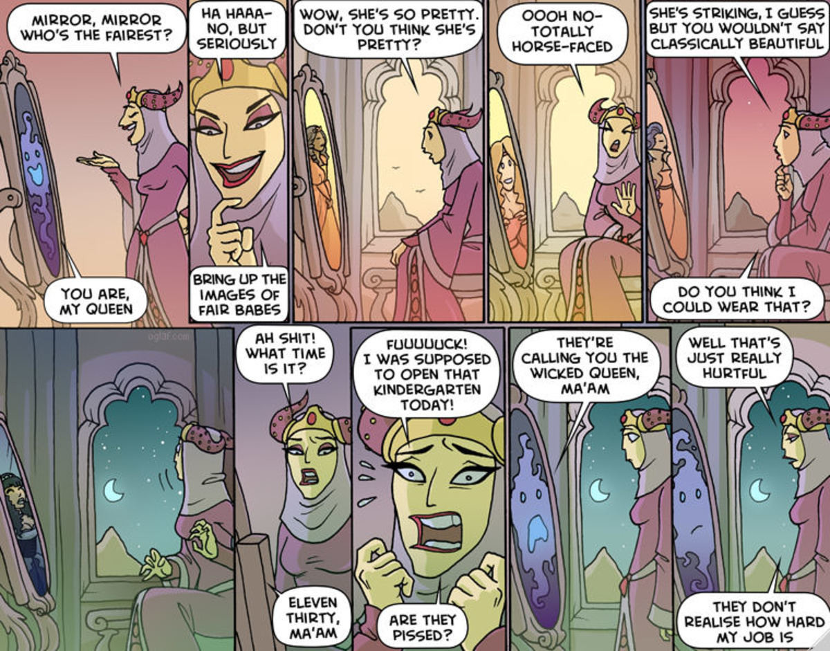 Oglaf. .. I thought she wanted to flick her bean and needed some material.