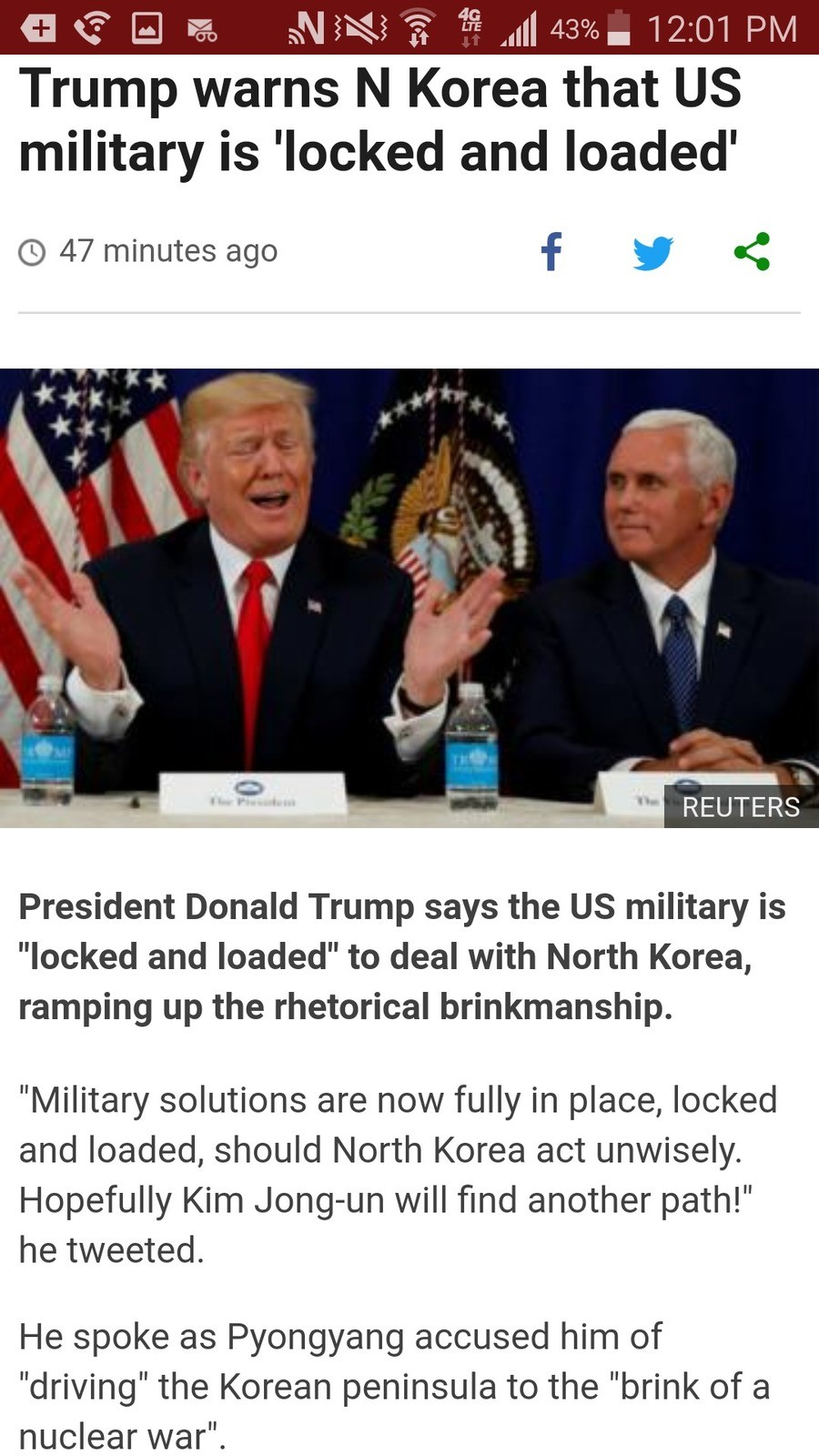 Oh snap. Also, Australia said they'd help us out if goes south. Admin, for the love of God just back down.. Trump warns N Korea that US military is 'locked and