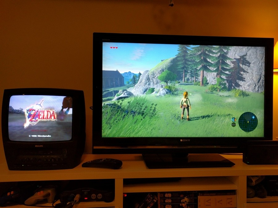 Old and new side by side. .. I am pretty hyped for this game, have always loved Zelda, but not sure when I can play it as I don't have a WiiU or money for a switch.