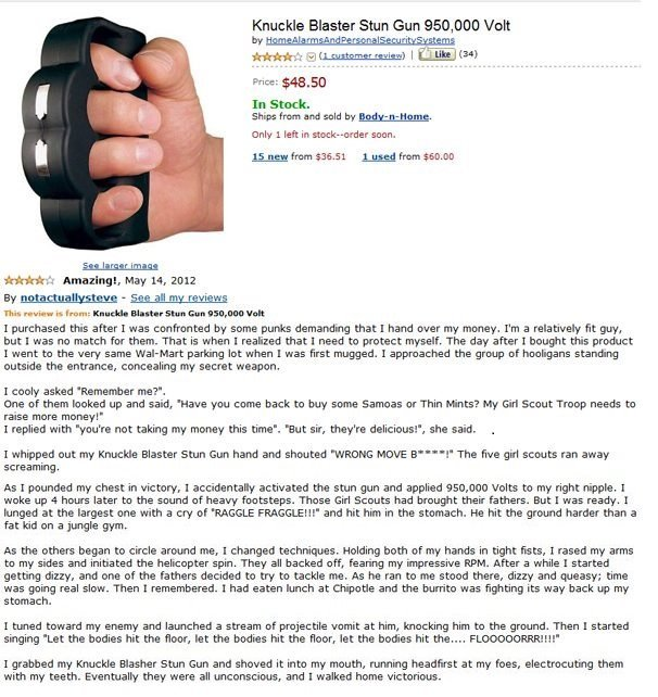 One Of My Favorite Reviews. A funny product review for the Knuckle Blaster Stun Gun.. lines he Blaster Stun Gun , 000 Unit 5, 55. usage I Lue) tsa) In Stock. aa