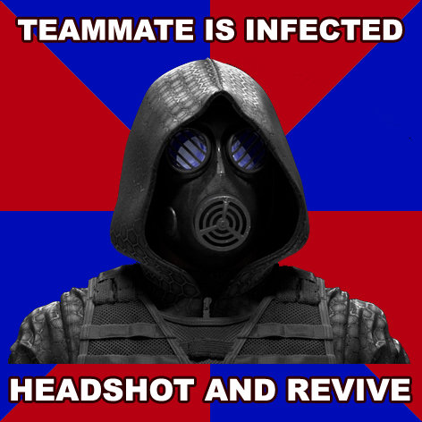 Operation Raccoon City. I mean why waste anti-viral spray? yes I created this, so please be kind :3. TEAM MATE IS INFECTED HEADSHOT AND REVIVE