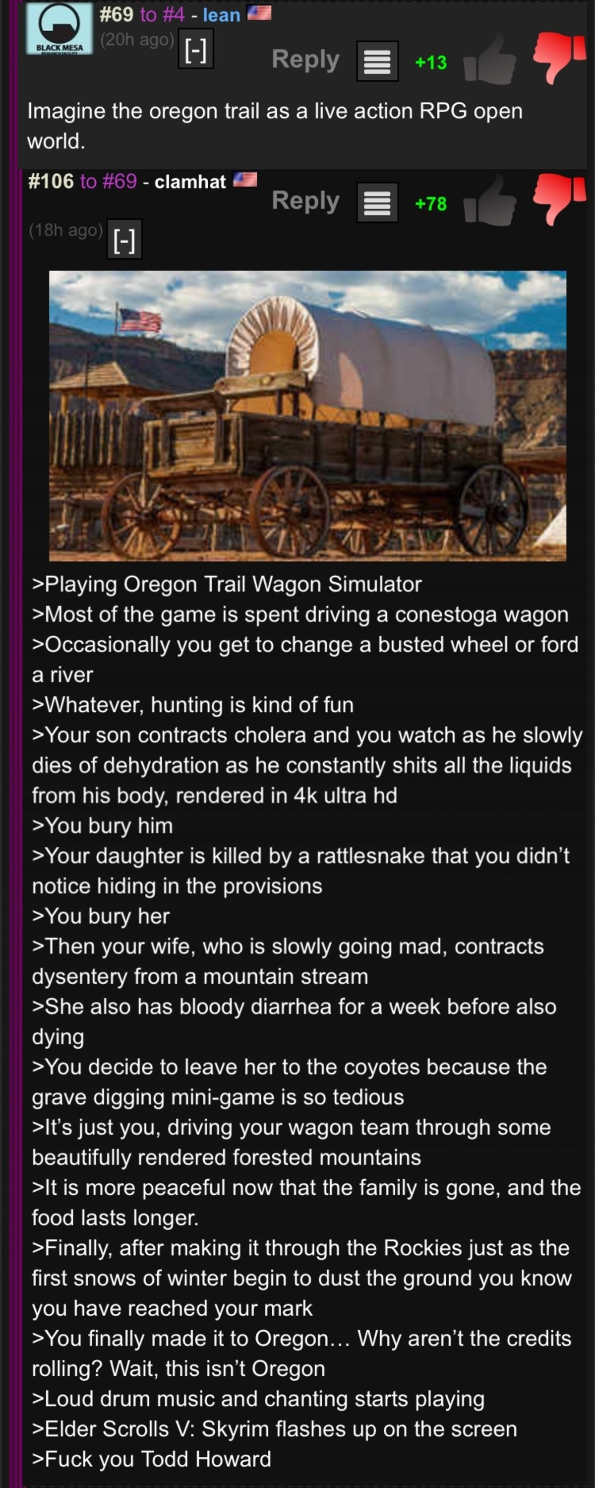 Oregon Trail HD. .. Sticky link so we can give OP thumbs too, please.