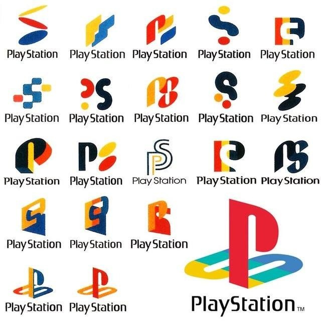 "Original logo concepts. .. I heard that stupid half-synthetic voice thing saying ""play-station"" for every single one of these logos.Comment edited at ."