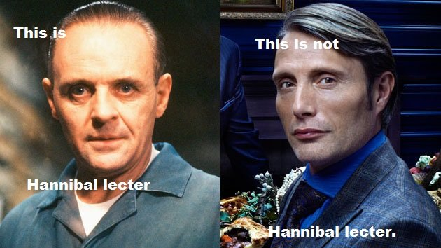 Paint skills of the chart.. . if . Annabal keisser/. Ok no. Anthony hopkins didn't do a good job of hannibal lecter. Silence of the lambs was a good movie as were the sequels. But i have read the book, and he is N