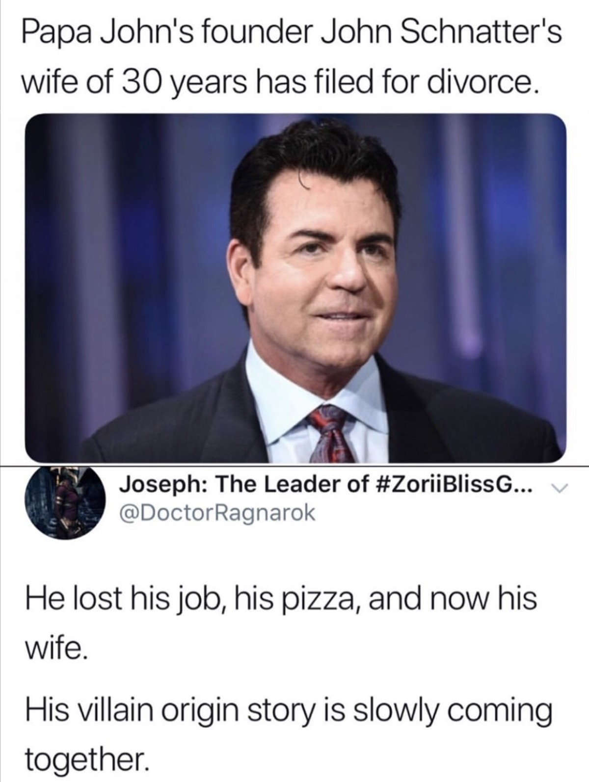 Papa Bless. .. And all for reasonable political opinions and for having said a slur that was taken out of context. I'd feel terrible for him if he didn't have enough money to