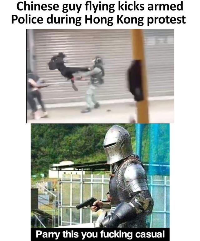 parry. .. Police fw Jackie Chan kicks their teeth in.