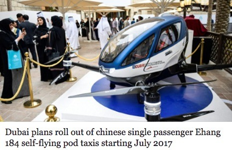 Passenger Drones Premiere in Dubai. - No footage of it actually working - Made in China - 30 minute charge - Just enough time to Allahu Akbar in style.. Dubai p