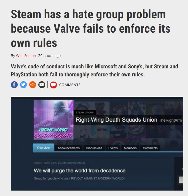 """PC Gamer: """"Steam has a hate group problem"""". Full article: http://archive.is/w4kPZ Pictures posted below because archive.is doesn't save pictures join list: Poli"""