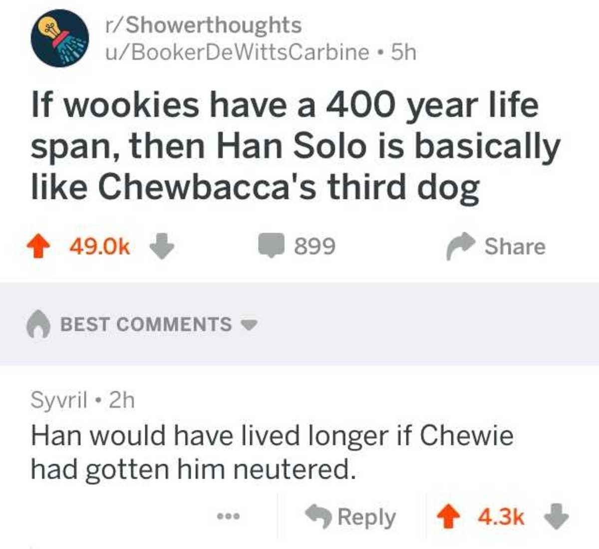 Pendaps Cadivagup Mepsirabed. . If wookies have tit wll,, 00 year life span, allert Solo is basically like ' s third dog BEST COMMENTS V Sevral . Han would have