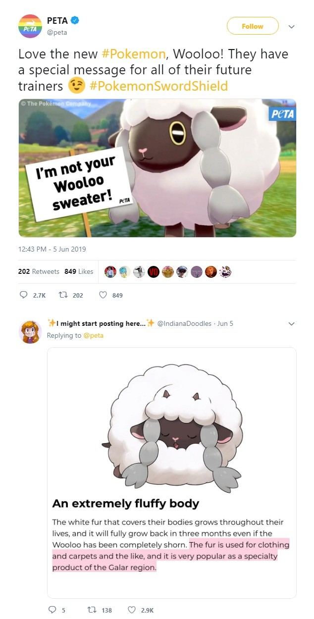PETA poorly attempts to hop onto the Sword and Shield hype train. .. I thought Nintendo had hit Peta with a lawsuit so they'd stay the away from Pokémon