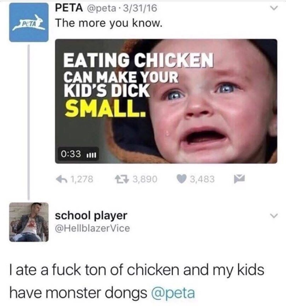 PETA. . The more you know. EATING CHICKEN CAN MAKE YOUR KID' S DICK tiltle A school player N, p' I ate a fuck ton of chicken arg:) t' Til/ kids have) monster do
