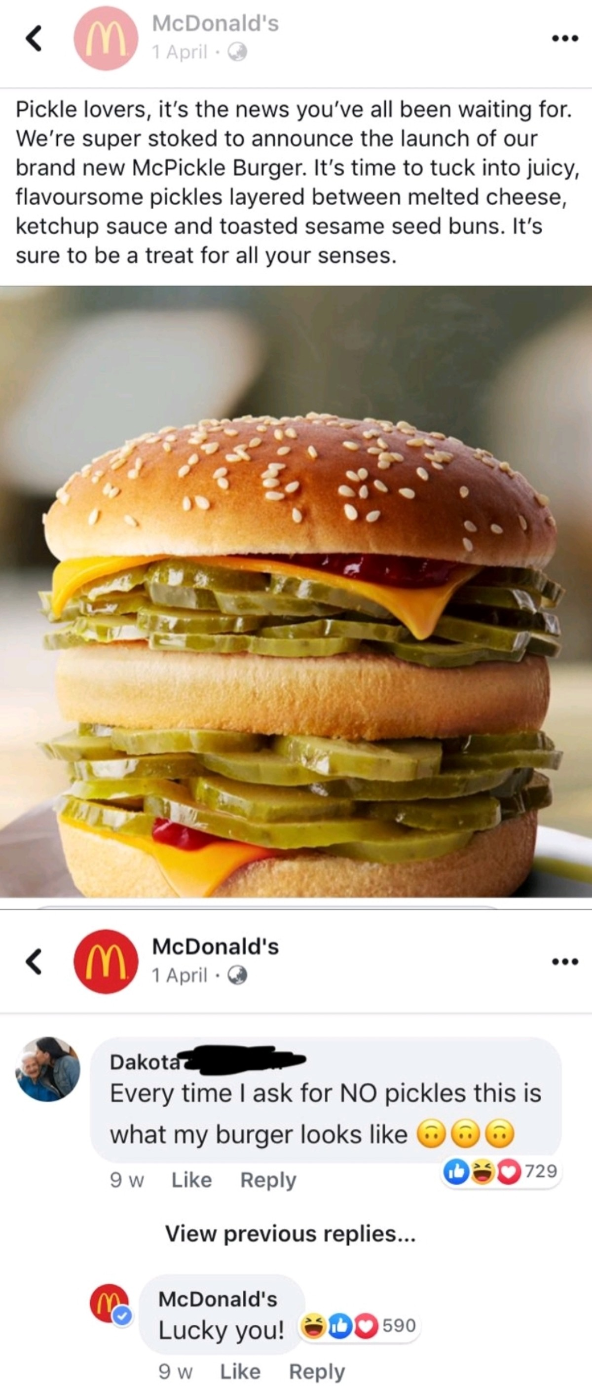 Pickles. .. i'll have one mcpickle burger with no pickles please