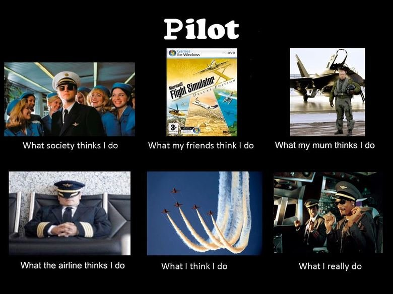 Pilot!. . What the airline thinks I do What I think i do What I really do