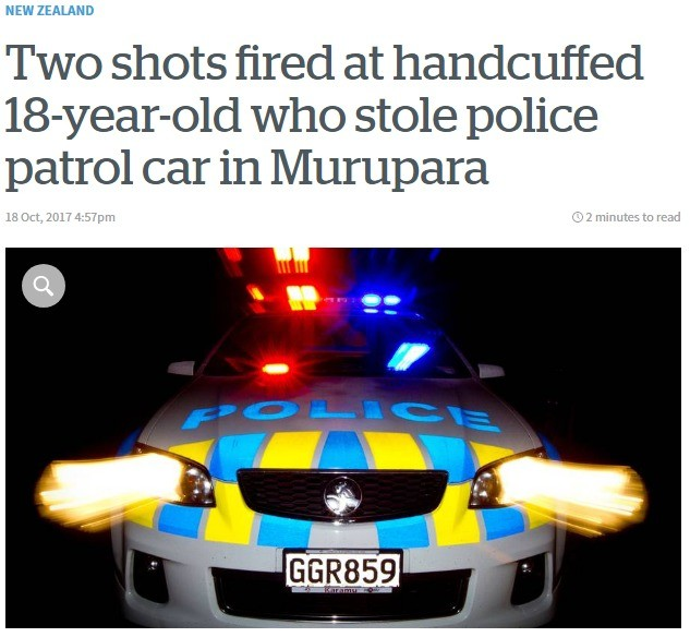 police car stolen in nz. Decided to post this because I thought it would be funny, but It''s not really that funny to be honest, somebody could have been hurt.