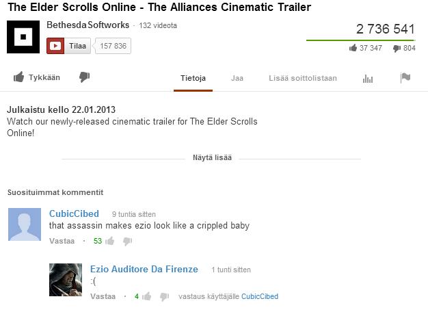 Poor Ezio. . The Elder Smells Deline - The Alliances Cinematic Trailer Bethesda Softworks - 132 tridents 2 736 541 El THEE 157 335 i. 37 347 . 804 If . Trateja