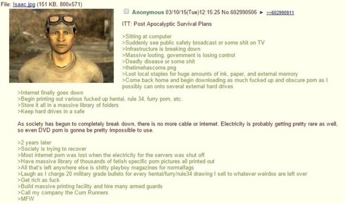 Post Apocalyptic Survival Plans. join list: Chanoholic (310 subs)Mention History.. >implying degenerates would survive that long