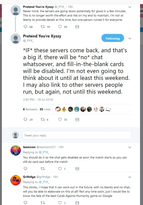 Image of: Funny Pretend Youre Xyzzy Has Shut Down Famed Cards Against Humanity Clone Pretend Youre Funny Junk Pretend Youre Xyzzy Has Shut Down