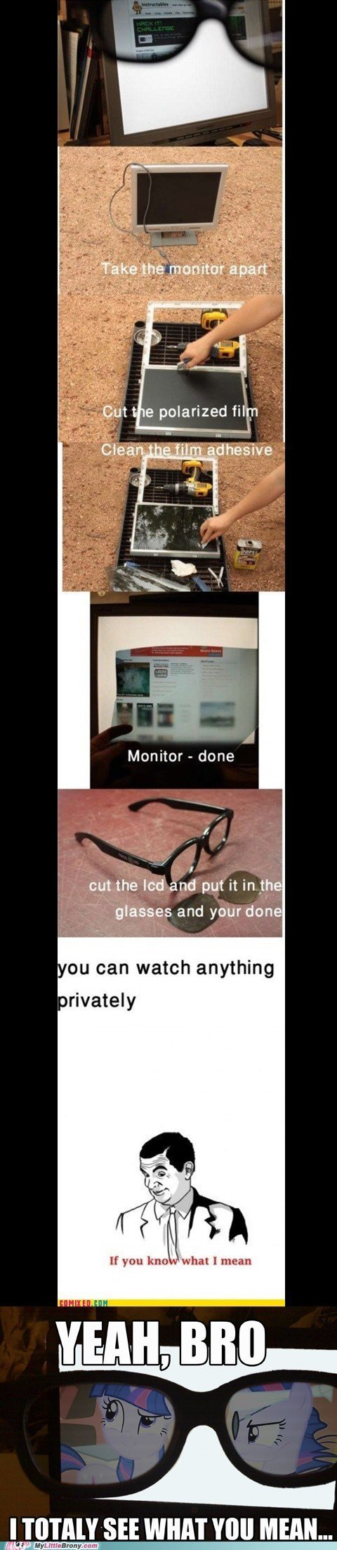 """privacy. . polarized film Monitor ... done am the led and put it in we glasses and your done g DU can watch anything If you kn-: 1 what I mean icij"""" jeti,, BRO,"""