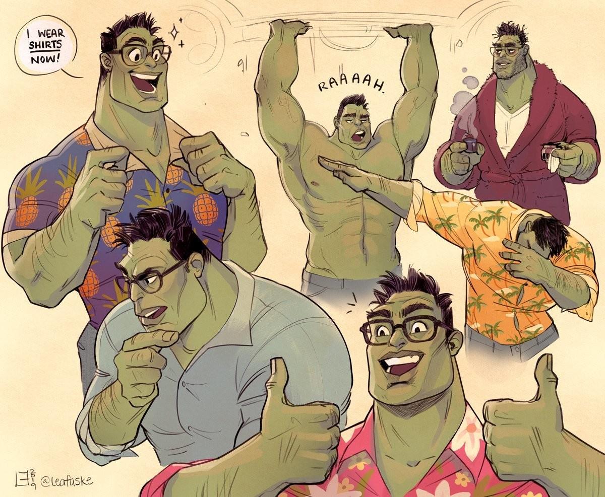 Professor Hulk fanart. .. I'm getting bara yaoi vibes from this art style
