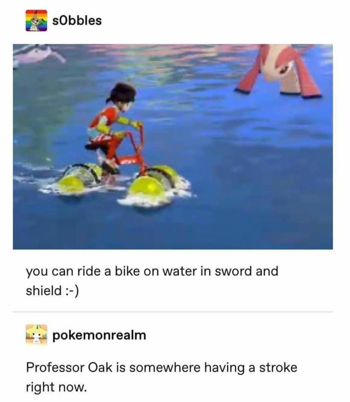 Professor Stroke. .. Now how about riding a bike in the water?