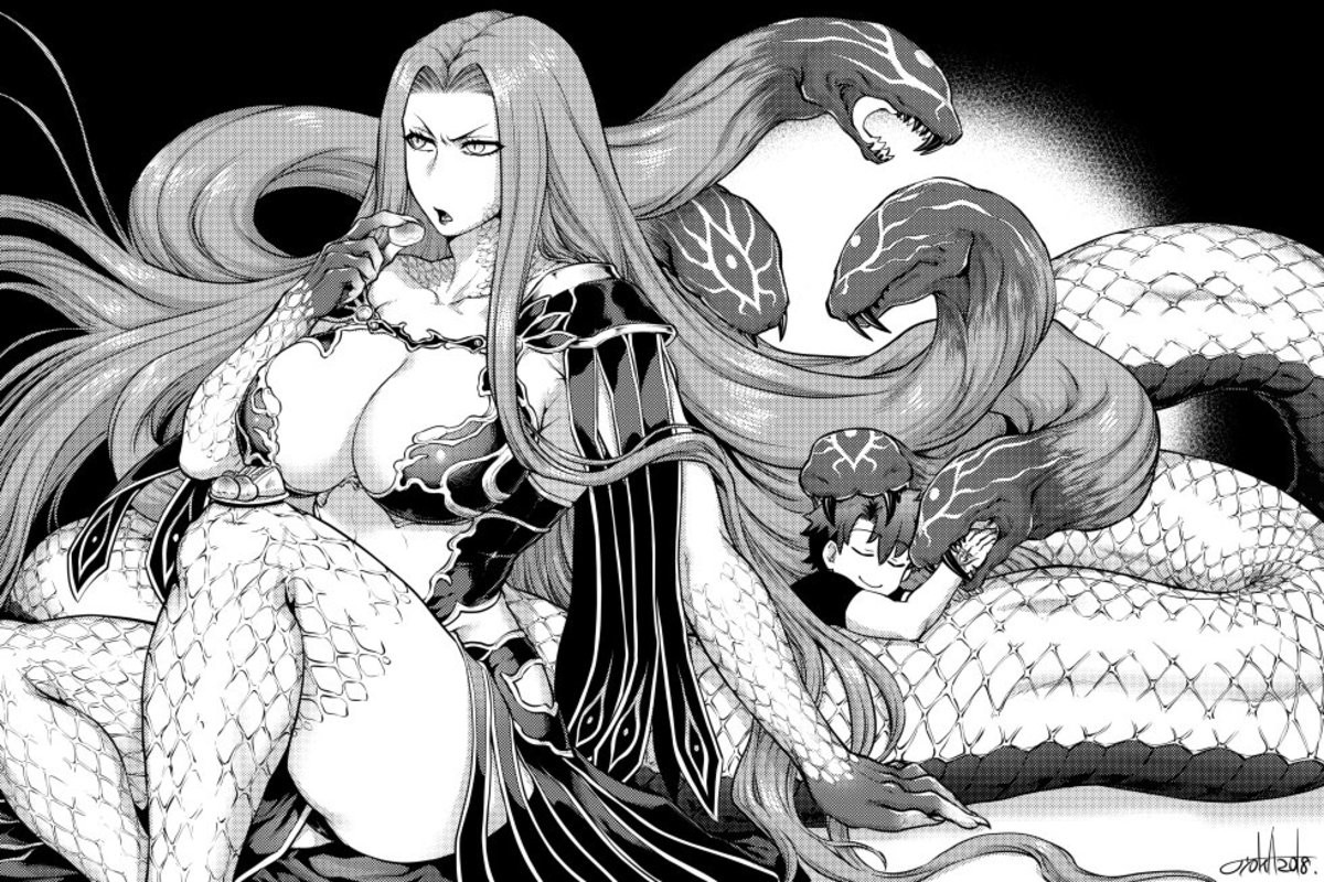 Protective Gorgon. Source https://twitter.com/jyoka0222/status/1034842136322011137 join list: Fate (412 subs)Mention History join list:. Thick coils and soft hair snakes. Also she is very sweet and kind. So love her.