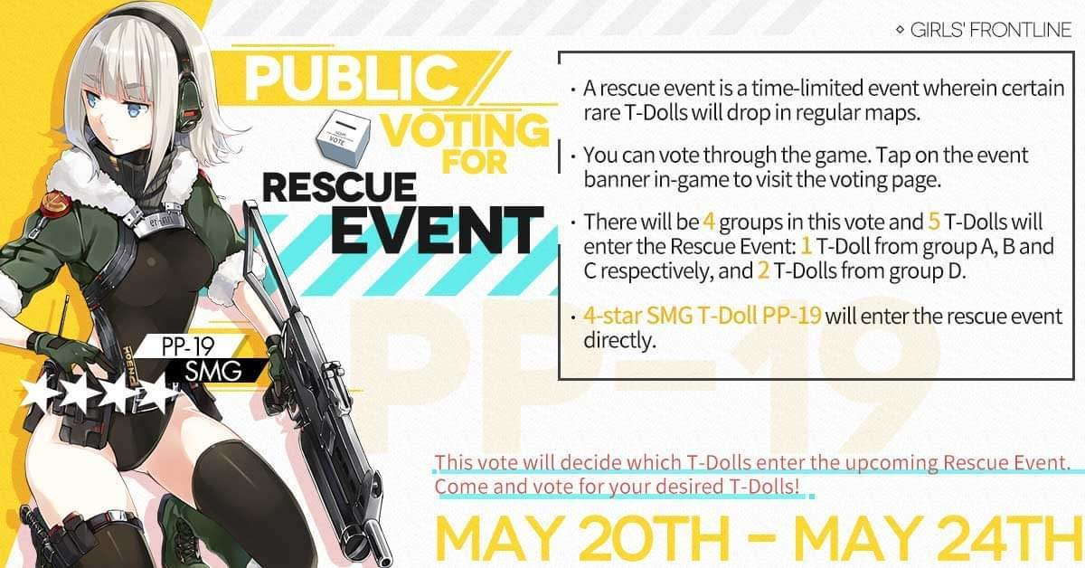 Public voting for rescue event. join list: GirlsFrontline (587 subs)Mention Clicks: 110285Msgs Sent: 404418Mention History.. I sincerely don't understand why people play gacha games its like a group of wealthy bankers had a converence to decide how best to scam money out of lonely sin