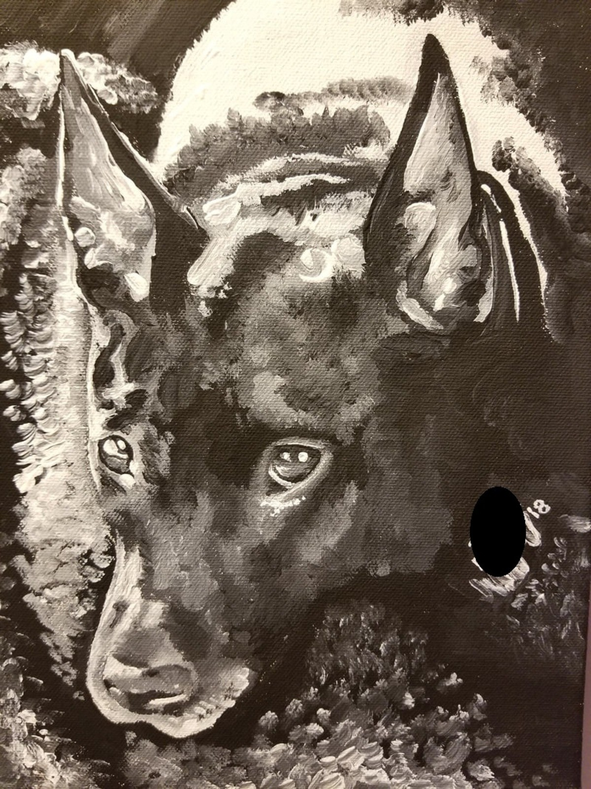 Pupper Paintings. Acrylic painting of my pupper, Bigby, pit/daschund(?) mix. He's a rescue so I have no idea what breed he is. Big ears, pit head, pit body, but