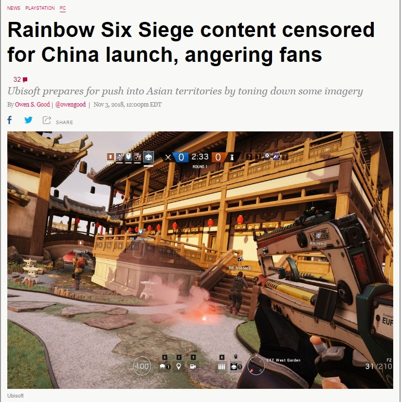 Rainbow Six Siege content censored for China launch. http://archive.today/5MPRp join list: VidyaGames (365 subs)Mention Clicks: 17599Msgs Sent: 122648Mention Hi