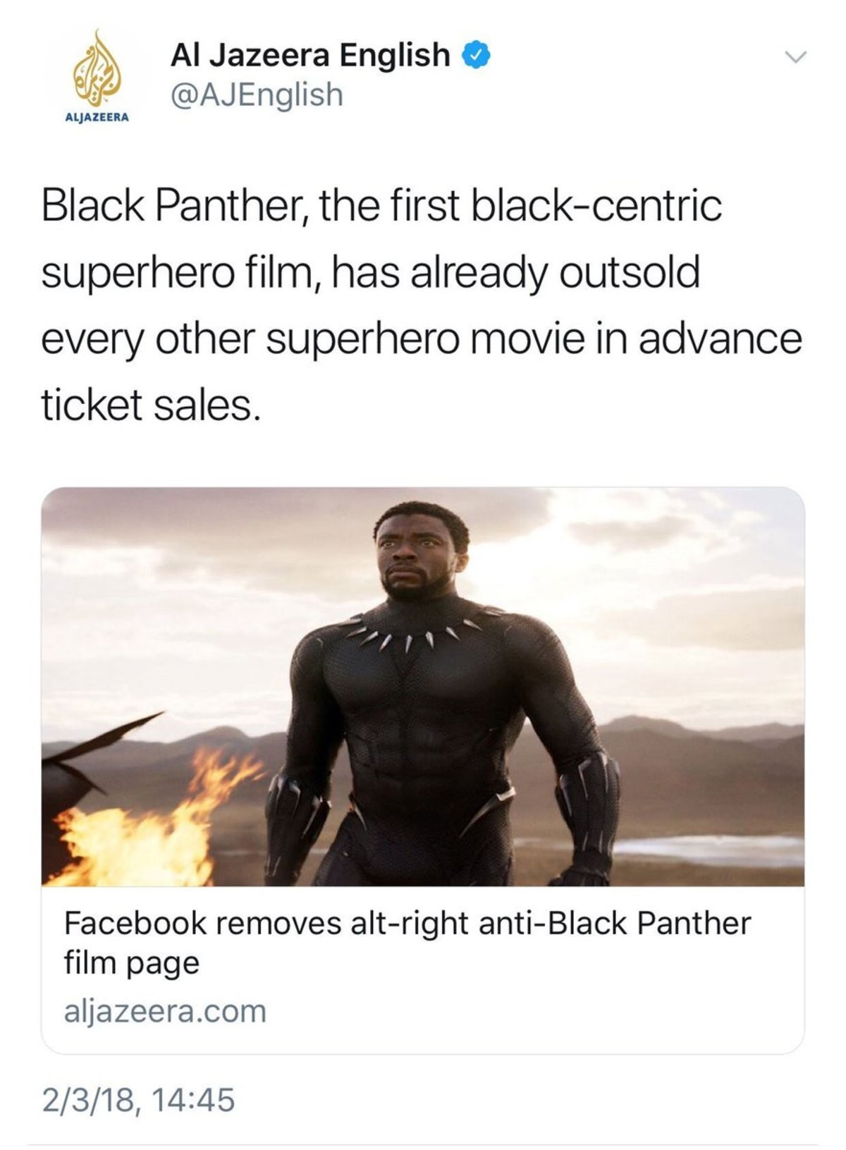 Really?. join list: PoliticsAndStuff (745 subs)Mention History. Black Panther, the first superhero film, has already outsold ticket sales. Cid Facebook removes