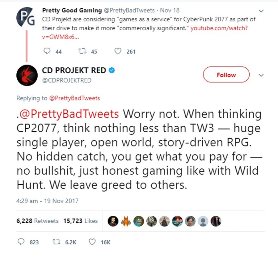 """Reason #27 to love CDPROJECTRED. join list: VideoGameHumor (1704 subs)Mention Clicks: 607708Msgs Sent: 5982060Mention History. CD ll' reject are considering """"ga"""
