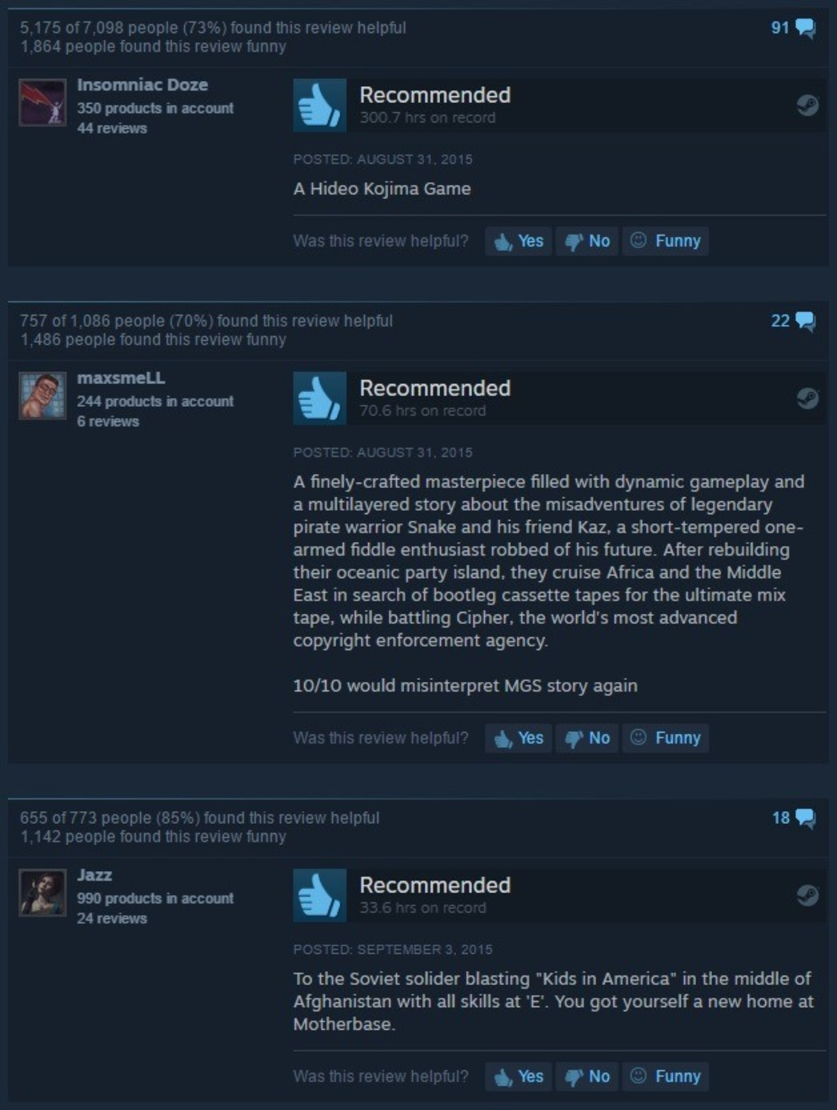 (reposts) MGSV: TPP. . Insomniac Doze It 350 products A Recommended f 44 reviews , A Hideo Kojima Game Recommended 244 products in account Ar, 6 reviews , A mas