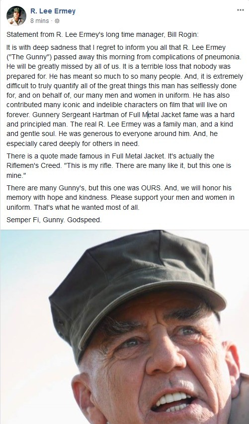 Rest easy, Soldier. . R. Lee Emmy m 8 mins - Statement trom R. Lee Emmey' s long time manager, Bill Regin: It is with deep sadness that I regret to Ween you all