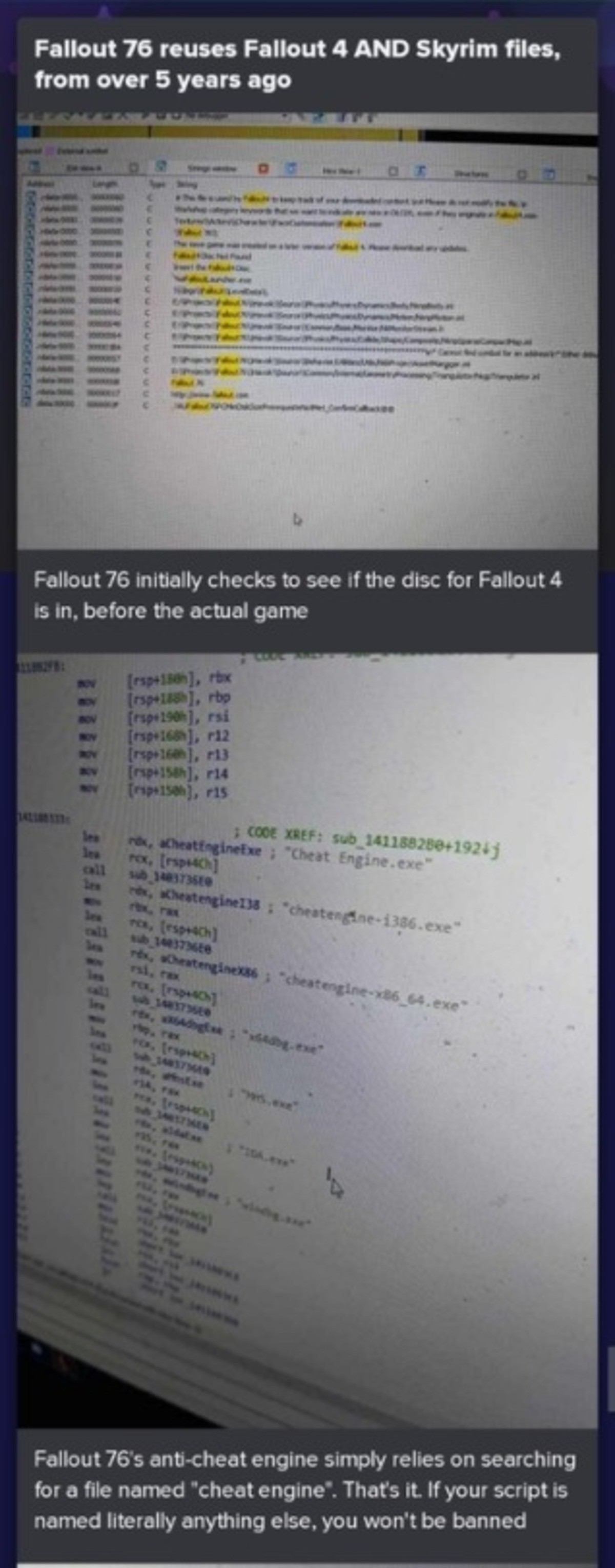 Reused Fallout 4 and Skyrim assets in Fallout 76. .. This is like the 10th time something about 76 using 4 and Skyrim code has popped up today. Give it a rest man.
